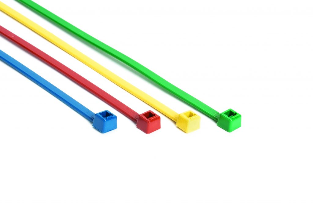 Blue, Red, Yellow and Green metal detectable cable ties