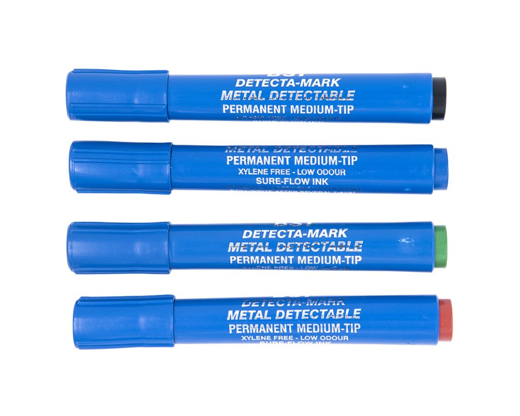 Metal Detectable permanent markers. In Red, blue, green, and black
